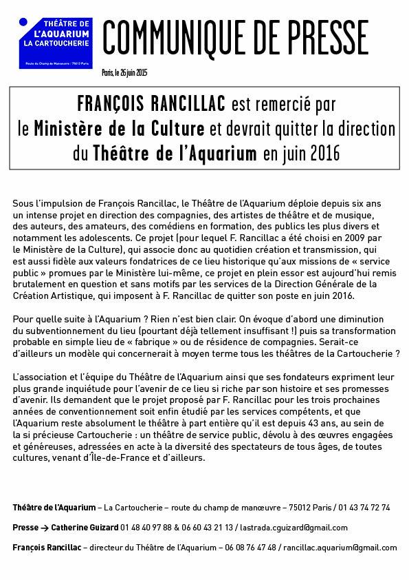 Communiqué de presse du théâtre de l'Aquarium - 26 juin 2015