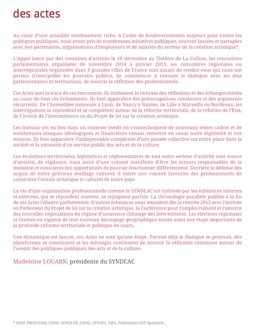 Des actes, éditorial de Madeleine Louarn - 2014/2015