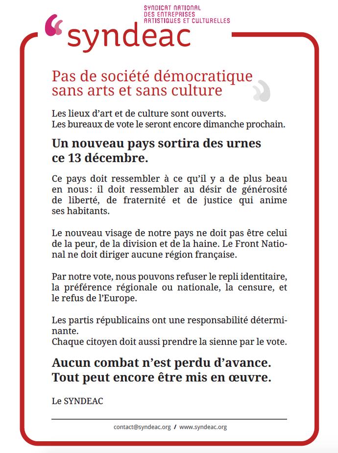 Pas de société démocratique sans arts et sans culture - 8 décembre 2015